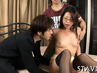 Lusty asian playgirl strokes..