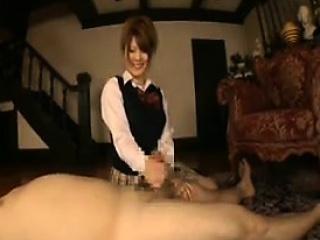 Cute Asian gal grabs his..