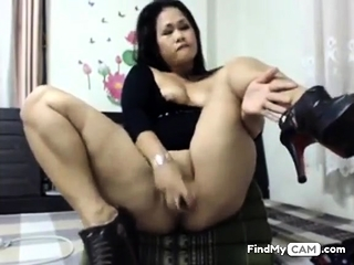 asian slut toying her ass..
