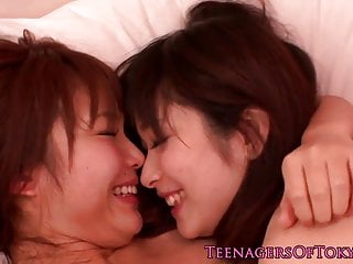 Japanese lesbians kissing..