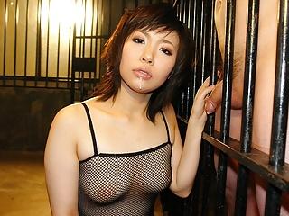 Slutty brunette in fishnet..