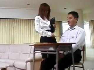 Asian teacher has her pupil -