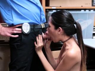 Blonde police threesome plus..
