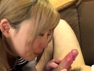 Japanese hoe gives handjob..