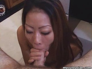Asian housewife delivers hot..