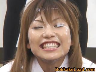Asian model in bukkake..