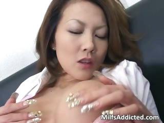 Slutty Asian MILF touches..