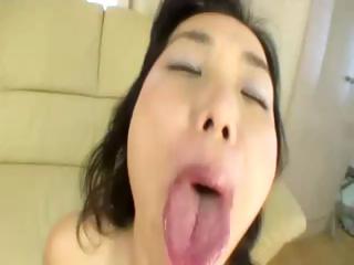Japanese milf sucks cock..