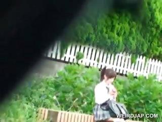 Asian schoolgirl gets spied..