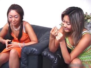 Cute asian swishy threesome..