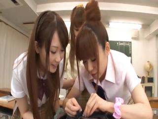Asian schoolgirls taking..