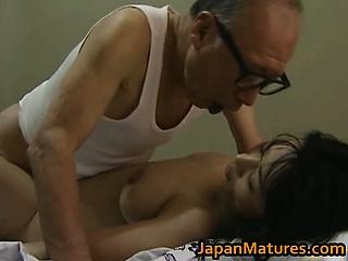Hot Asian babe has mature sex